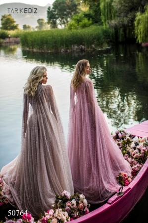 Rochie Tarik Ediz 50764 roz lunga de seara clos din tulle2