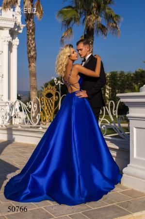Rochie Tarik Ediz 50766 bleumarin lunga de seara princess din taffeta1
