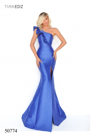 Rochie Tarik Ediz 50774 albastra lunga de seara sirena din taffeta [0]