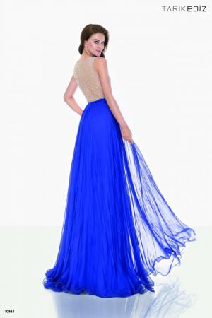 Rochie Tarik Ediz 92667 albastra lunga de seara in clos din voal1