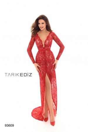 Rochie Tarik Ediz 93609 rosie lunga de seara mulata din dantela [0]