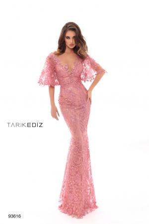 Rochie Tarik Ediz 93616 roz lunga de seara tip sirena din dantela0