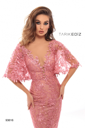 Rochie Tarik Ediz 93616 roz lunga de seara tip sirena din dantela1