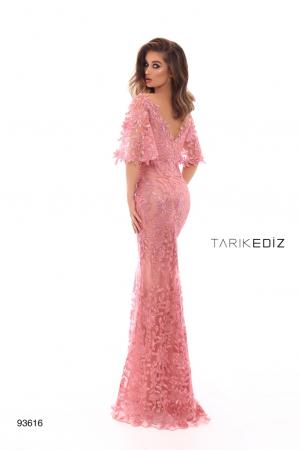 Rochie Tarik Ediz 93616 roz lunga de seara tip sirena din dantela2