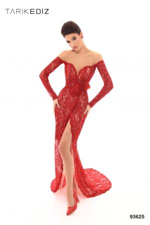Rochie Tarik Ediz 93625 rosie lunga de seara mulata din dantela0