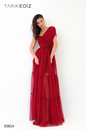 Rochie Tarik Ediz 93814 rosie lunga de seara clos din voal [1]