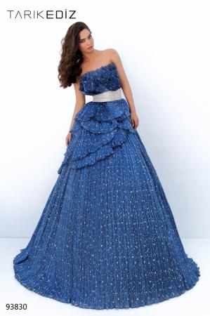 Rochie Tarik Ediz 93830 albastra lunga de seara princess din organza [0]