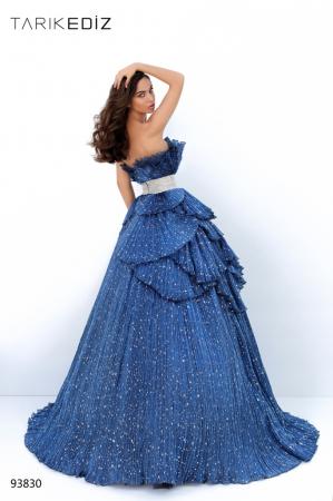 Rochie Tarik Ediz 93830 albastra lunga de seara princess din organza [2]