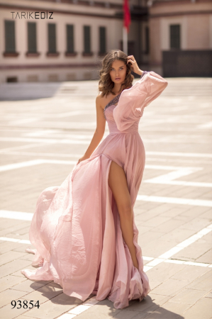 Rochie Tarik Ediz 93854 roz lunga de seara clos din voal [1]