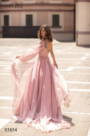 Rochie Tarik Ediz 93854 roz lunga de seara clos din voal [4]