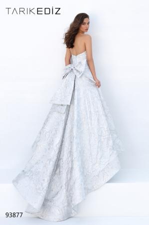 Rochie Tarik Ediz 93877 argintie lunga de seara princess din jacquard0