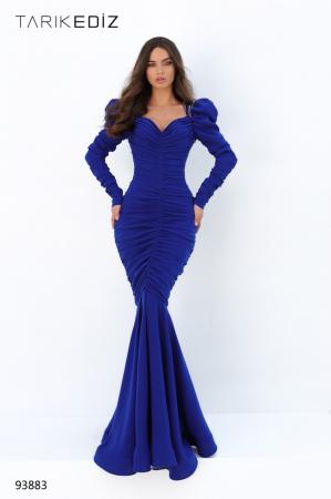 Rochie Tarik Ediz 93883 albastra lunga de seara sirena din crepe0