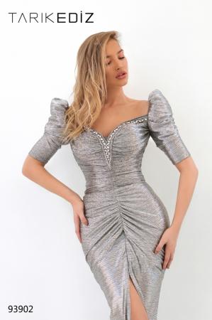 Rochie Tarik Ediz 93902 argintie lunga de seara mulata din jacquard1