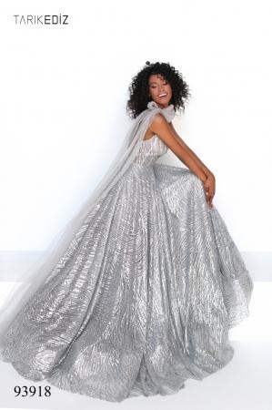 Rochie Tarik Ediz 93918 argintie lunga de seara A-line din glitter5