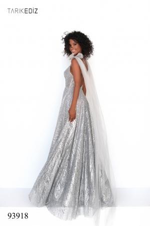 Rochie Tarik Ediz 93918 argintie lunga de seara A-line din glitter6