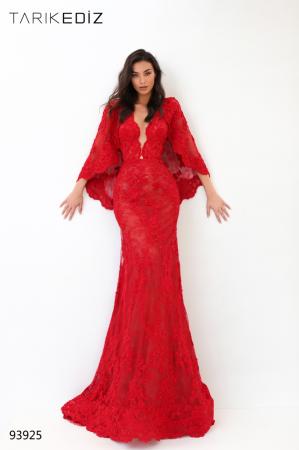 Rochie Tarik Ediz 93925 rosie lunga de seara sirena din dantela0