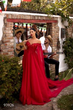 Rochie Tarik Ediz 93926 rosie lunga de seara clos din tulle0