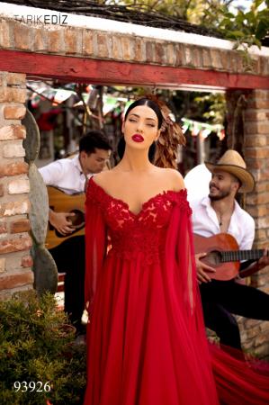 Rochie Tarik Ediz 93926 rosie lunga de seara clos din tulle2
