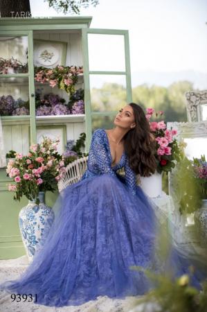 Rochie Tarik Ediz 93931 albastra lunga de seara clos din dantela1