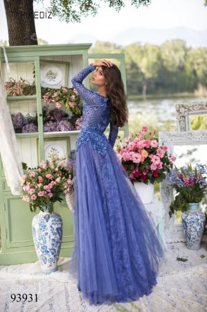 Rochie Tarik Ediz 93931 albastra lunga de seara clos din dantela3
