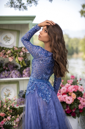 Rochie Tarik Ediz 93931 albastra lunga de seara clos din dantela4