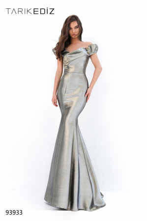Rochie Tarik Ediz 93933 aurie lunga de seara sirena din glitter0
