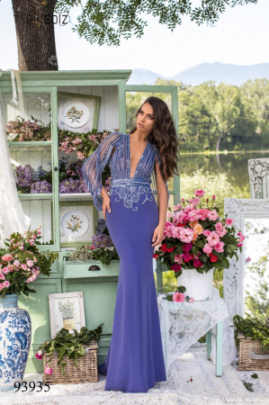 Rochie Tarik Ediz 93935 albastra lunga de seara mulata din crepe0