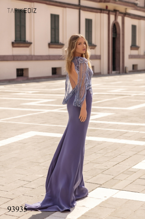 Rochie Tarik Ediz 93935 albastra lunga de seara mulata din crepe5