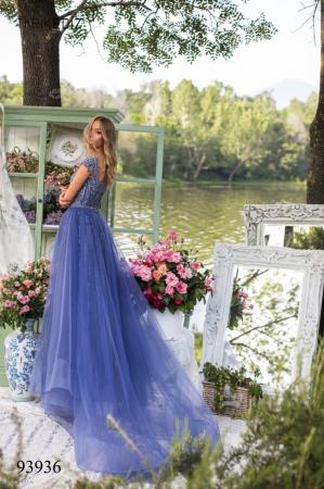 Rochie Tarik Ediz 93936 albastra lunga de seara clos din tulle [2]