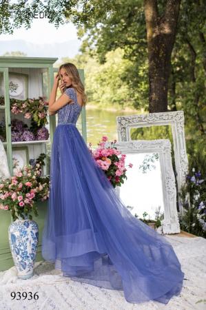 Rochie Tarik Ediz 93936 albastra lunga de seara clos din tulle [3]