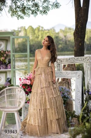 Rochie Tarik Ediz 93943 aurie lunga de seara princess din tulle [0]