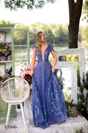 Rochie Tarik Ediz 93946 albastra lunga de seara princess din dantela0