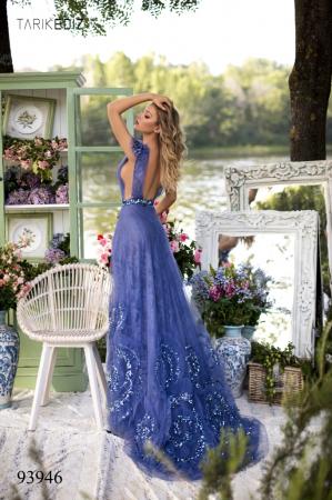 Rochie Tarik Ediz 93946 albastra lunga de seara princess din dantela1