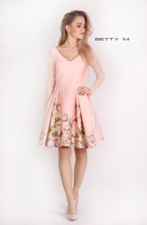 Rochie Betty M Casablanca roz cu flori scurta de vara baby doll0