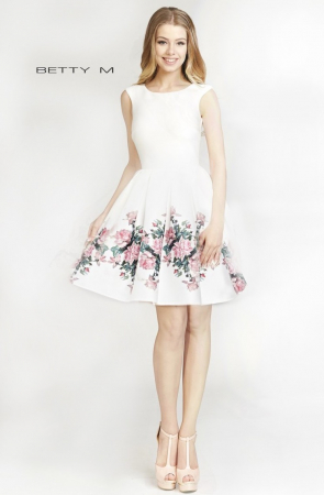 Rochie Betty M Evening Happy Roses alba cu flori scurta de vara baby doll0