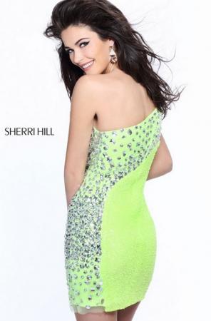 Rochie Sherri Hill 21138 portocalie scurta de seara mulata din paiete1