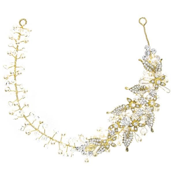 Accesoriu maleabil argintiu cu motive florale, cristale și perle. [1]