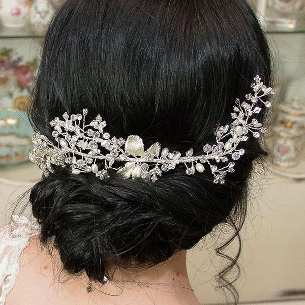 Accesoriu de păr pentru mirese, modelator, cu flori, perle și cristale [1]