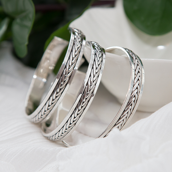 Brățară argint unisex cu detalii împletite patinate [4]