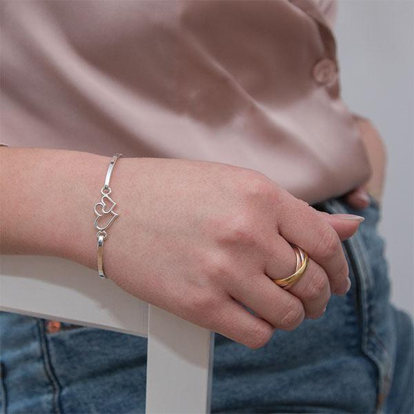 Bratara fixa argint model inimioare [2]