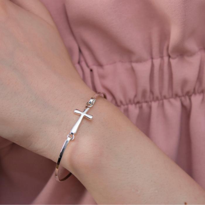 Brățară fixă argint cu talisman cruce [1]