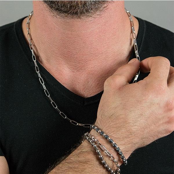 Brățară unisex împletită cu biluțe din argint și mărgele mate maro [0]