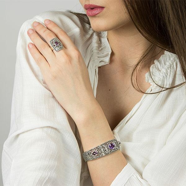 bratara argint antichizat eleganta cu marcasite si ametist [4]