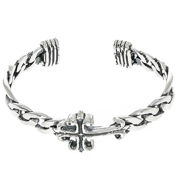 Brățară fixă din argint antichizat cu zale și cruce [3]