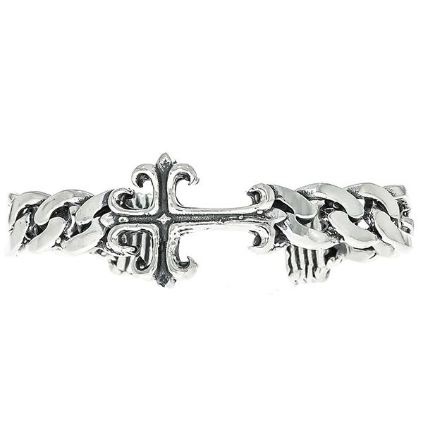 Brățară fixă din argint antichizat cu zale și cruce [2]