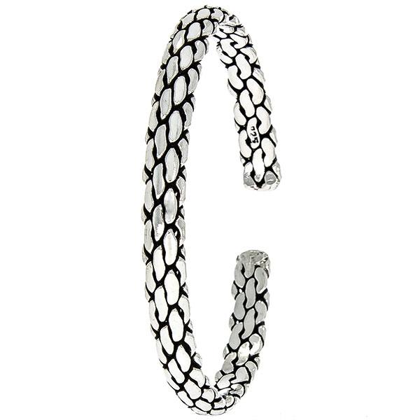 Brățară semi-rigidă din argint antichizat model împletit, unisex [0]