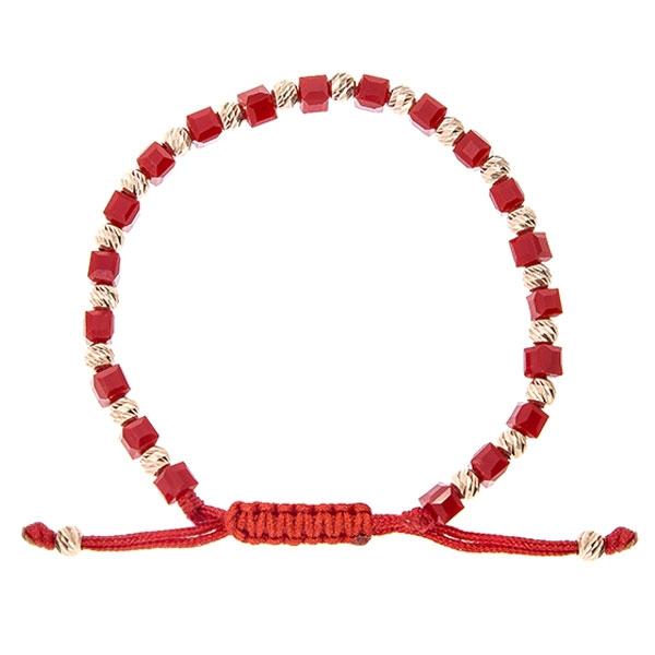 Brățară împletită cu șnur roșu, cristale cubice și bile argint auriu rose [0]