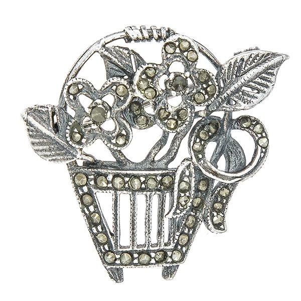 Brosa argint antichizat cosulet cu flori si marcasite [0]