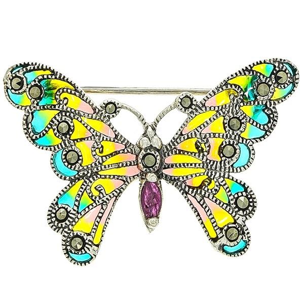 Brosa colorata din argint cu email model fluture [0]