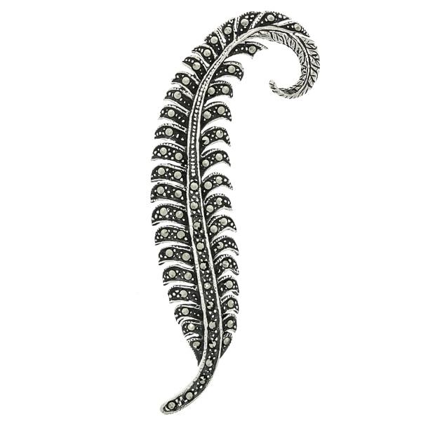 Brosa argint antichizat model vegetal cu marcasite [2]
